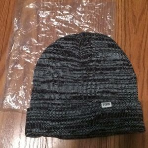 PINK Black and white knit hat